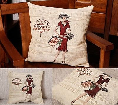 French Haute Couture Lady Fashion Decorative Pillow Case Cushion Cover Sham