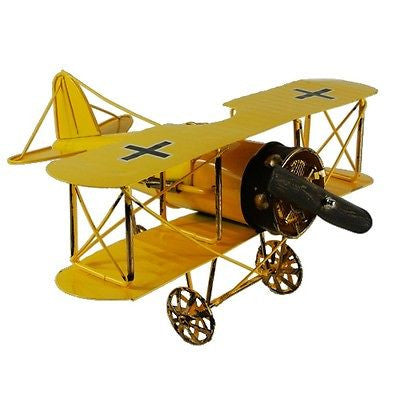 Vintage German Fokker D.VII WWI Fighter Jet Aircraft Model Prop Yellow 12""
