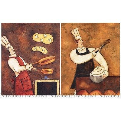 2Pcs Happy Restaurant Café  Chefs Cooking Art Decorative Canvas Wall Posters