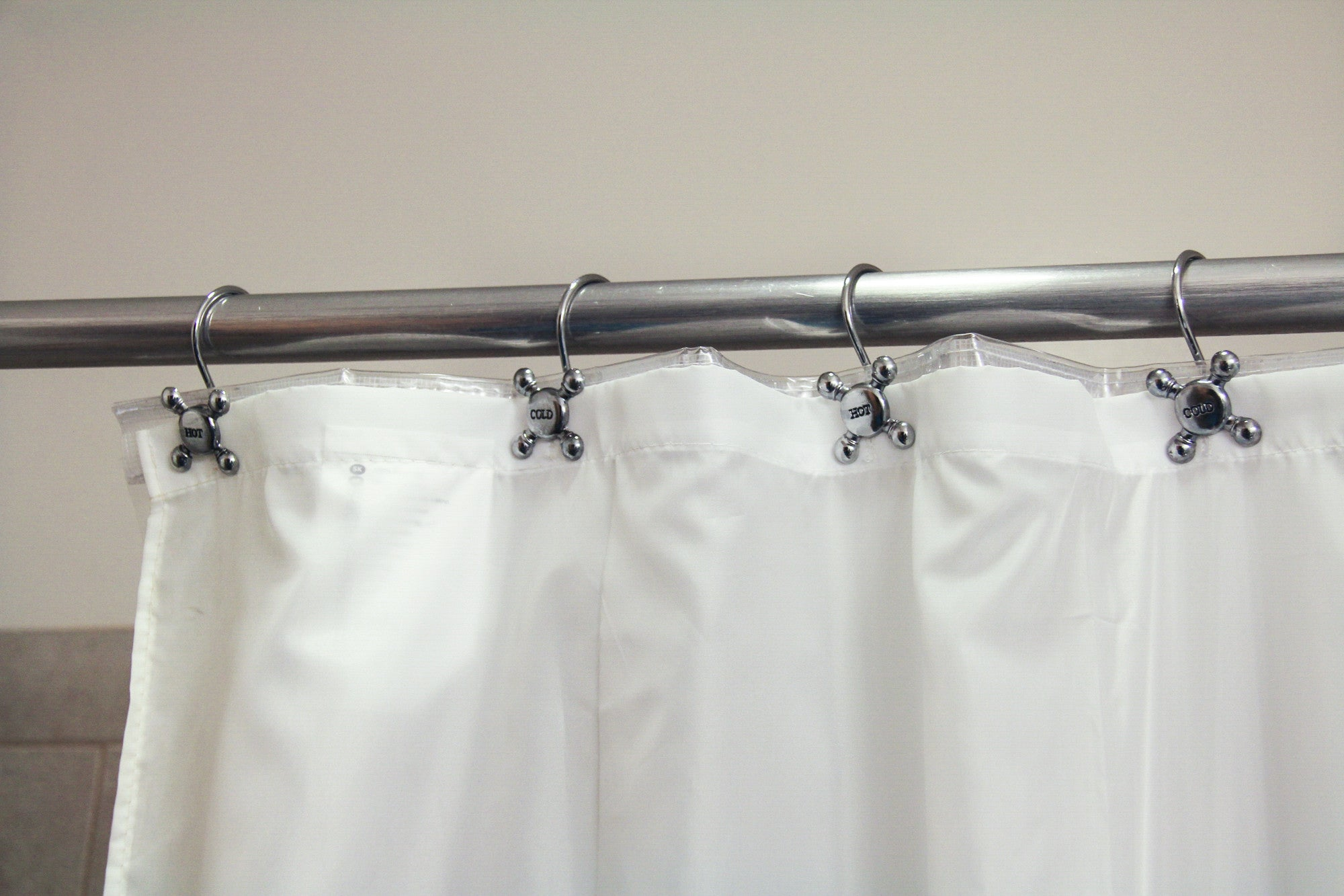 Pack Of 12 Vintage Hot Cold Water Faucet Shower Curtain Rings Silver