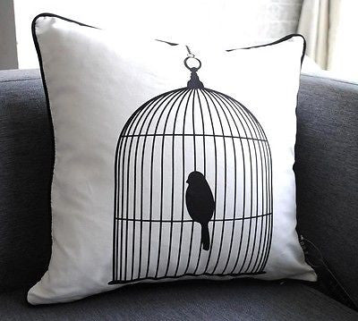 White Black Modern Birdcage Art Deco Decorative Throw Pillowcase Cushion Cover