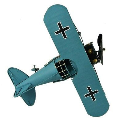 Vintage German Fokker D.VII WWI Fighter Jet Aircraft Model Prop Blue 12""
