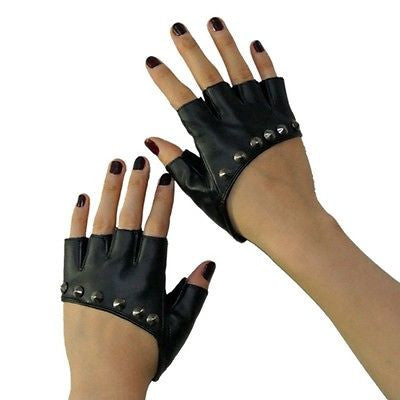 Lady Gaga Sexy Diva Art Black Rivet Fingerless PU Leather Five Fingers Gloves