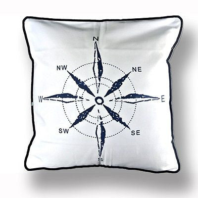 Mediterranean White Navy Compass Sea Ocean Decorative Pillow Case Cushion Cover