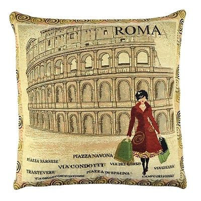 Vintage Rome Colosseum Red Shopping Lady Decorative Pillow Case Cushion Cover