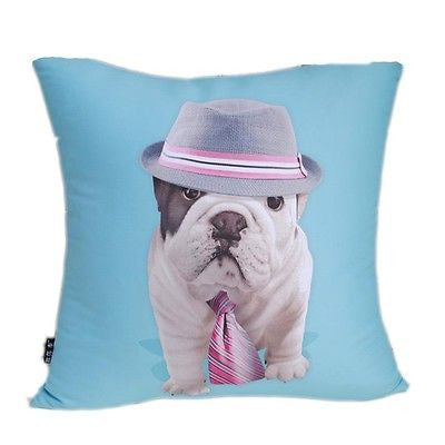 Blue Bulldog Fedora Pop Art Pillow Case Modern Decorative Cushion Cover Sham