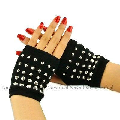 Black Punk Gothic Rock Full Metal Rivet Fingerless Palm Kint Gloves Hand Warmer