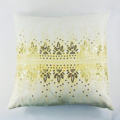 White Golden Flower Sequins Embroidery Decorative Pillow Case Cushion Cover