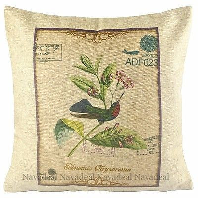 Hummingbird Flower ADF Visa Postcard Decorative Throw Pillowcase Cushion Cover