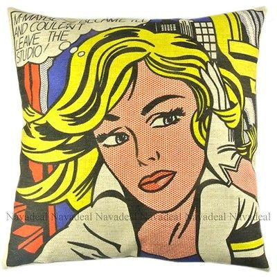 M-Maybe Blonde Roy Lichtenstein Pop Art Decorative Pillowcase Cushion Cover