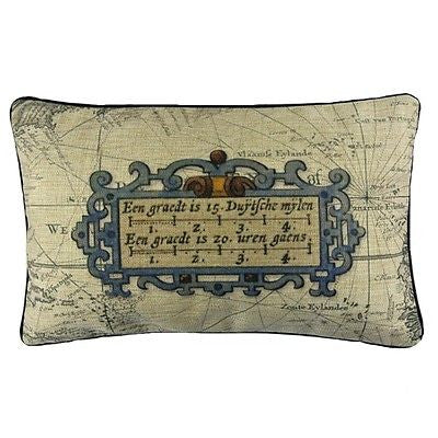 Vintage Voyage Map Art Doorplate Retro Decorative Lumbar Pillow Case Cushion Cover