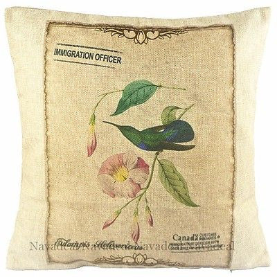 Art Hummingbird Morning Glory Postcard Decorative Throw Pillowcase Cushion Cover