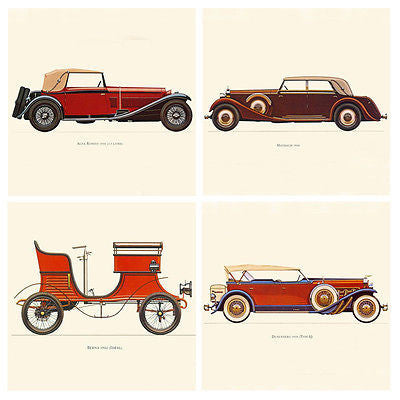4pcs Muscle Cars Jalopy DUSENBERG BERNA ALFA-ROMEO MAYBACH Canvas Wall Posters