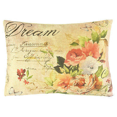 Nw Art Pink Dream Rose Garden Vintage Decorative Lumbar PillowCase Cushion Cover
