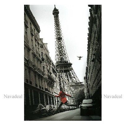 Girl In Red Paris Eiffel Tower Street Decorative Canvas Wall Poster Photography