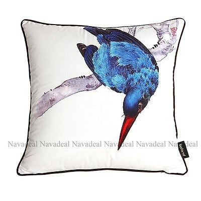 Big Blue Feather Bird On Tree Branch Decorative Throw Pillowcase Cushion Cover