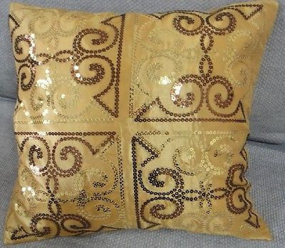GOLDEN ANTIQUE SEQUIN DECORATIVE PILLOW CASE ART DECO CUSHION