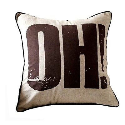 Brown Vintage Print OH! Logo Decorative Art Pillow Case Cushion Cover Shams