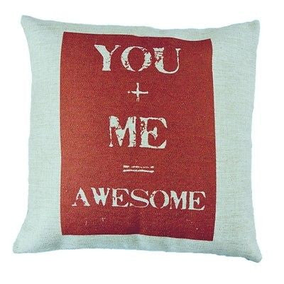 Beige Red You Plus Me Awesome Equation Romantic Art Pillow Case Cushion Cover