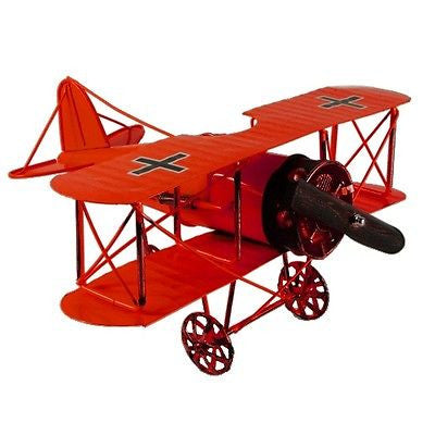 Vintage German Fokker D.VII WWI Fighter Jet Aircraft Model Prop Red 12""