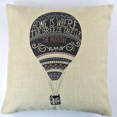 Beige Black Hot Air Balloon Movie UP Hudsons Linen Pillow Case Cushion Cover