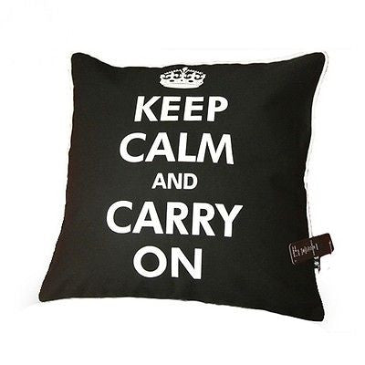 Black Classic UK Quote Keep Calm & Carry On Decorative Pillowcase Cushion Cover