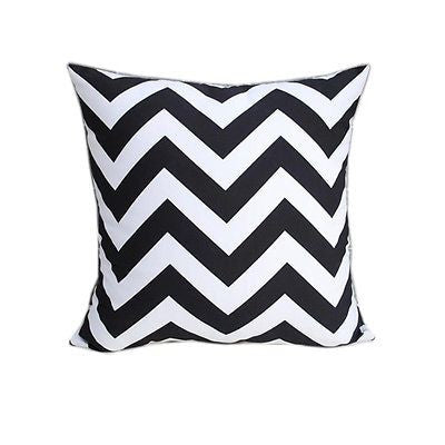 Modern Black White Zigzag Stripe Cotton Canvas Pillow Case Cushion Cover Sham