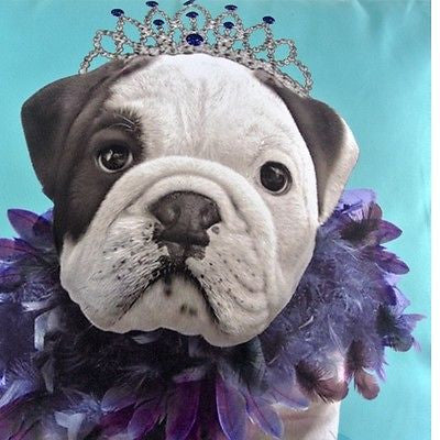 Modern Blue Bulldog Feather Crown Pop Art Decorative Pillowcase Cushion Cover