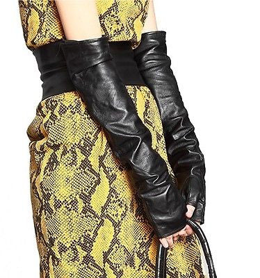 NW Black PU Long Arm Warmer Dress Up Fingerless Gloves /Lady Gaga Gossip Girl