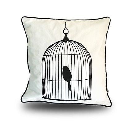 Modern Birdcage Decor Cotton Canvas White Black Pillowcase Cushion Cover Sham