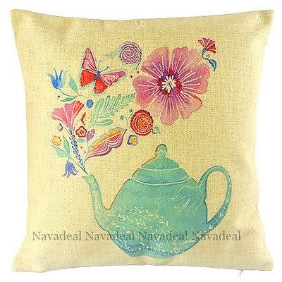 Blue Teapot Flowers Fine Living Art Decorative Throw Pillowcase Cushion Cover