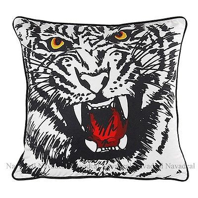 Japanese Furious Angry Big Tiger Sketch Art Decorative Pillowcase Cushion Cover