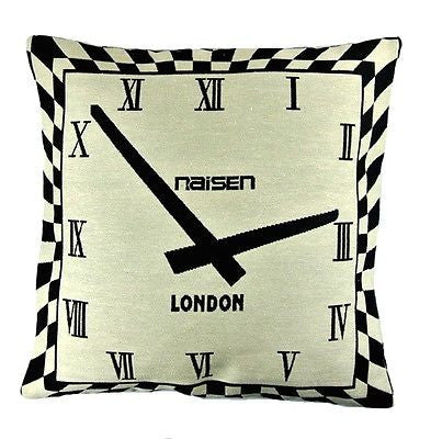 Black Beige Plaid Check Clock London Classic Art Pillow Case Cushion Cover