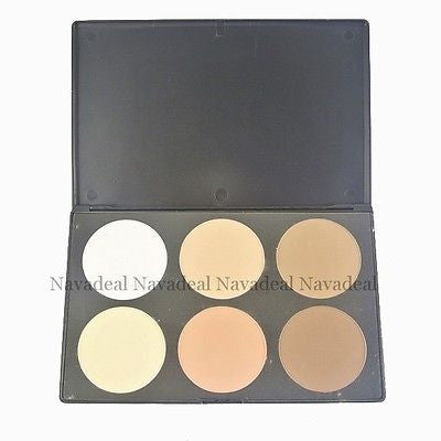 6 Colors Cosmetic Palette Highlighter Bronzer Powder Compact Shadow Makeup