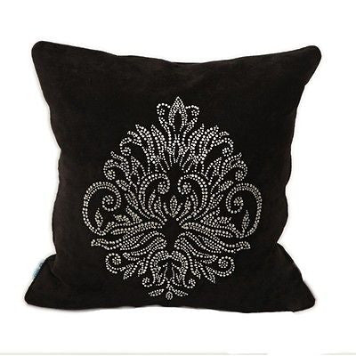 Black Luxury Retro Crystal Diamond Decorative Pillow Case Cushion Cover Sham
