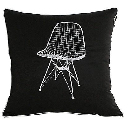 Black Modern Art Chair Embroidery Decorative Throw Pillowcase Cushion Cover