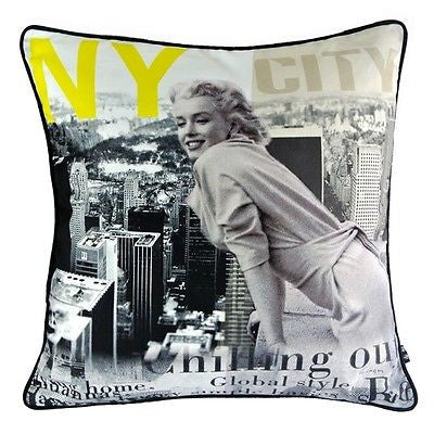 Decorative Pillow Case Retro Marilyn Monroe New York Empire State Cushion Cover