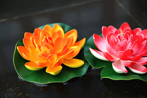 NAVAdeal 4PCS 7 Inch Artificial Floating Foam Lotus Flowers for Pool, Realistic Water Lily Pads, Pink Ivory White Orange Crimson, Perfect for Home Outdoor Patio Pond Aquarium Wedding Party Decorations