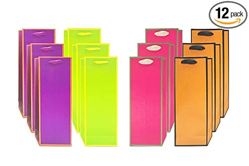 "UNIQOOO 12 Pcs Premium Assorted Vivid Pink Orange Green Purple Wine Gift Bags,14""x5''x 3.25'',100% Recyclable Paper,Liquor Wine Bottle Carrier Tote Bag for Wedding, Housewarming, Retirement, Party"