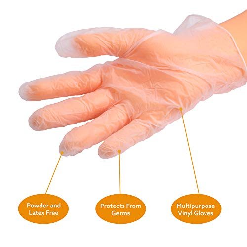 NAVADEAL 100Pcs Multipurpose Vinyl Disposable Gloves, Anti-Bacteria, Germ Protective, for Healthcare, Retail Food Handling, Powder Free,Latex-Free, Thick Durable, Soft Clear Gloves- Large, Fits Most