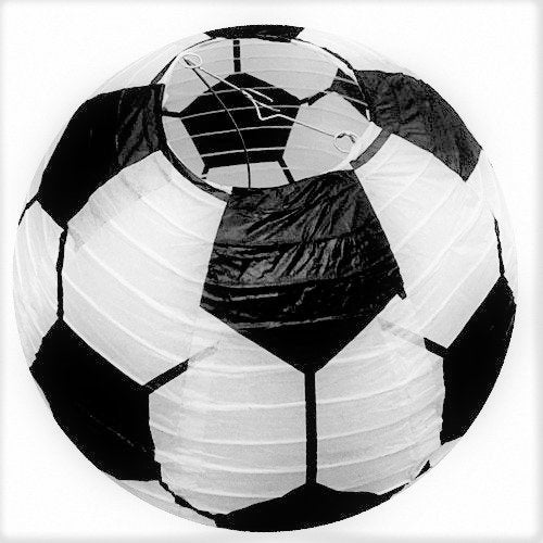 UNIQOOO 6Pcs Premium 12'' Soccer Football Paper Lantern Set, Reusable Hanging Decorative Japanese Chinese Paper Lanterns, Easy Assemble,For Sports Game FIFA World Cup Soccer Ball Party Bar Decorations
