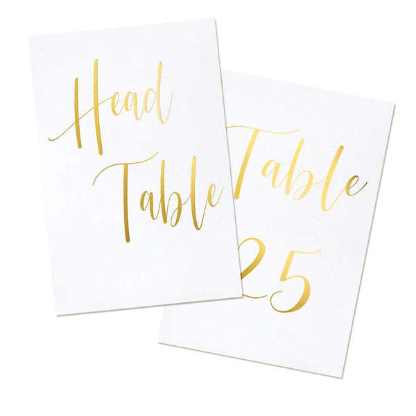 UNIQOOO Gold Foil Table Numbers for Wedding | 4x6 Double Sided Number 1-25 & Head Table Card, Calligraphy Design | Pack of 26