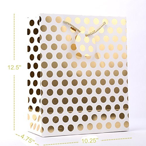 UNIQOOO 12Pcs Premium Gold & Sliver Chrome Metallic Gift Bag Bulk,100% Recyclable Kraft Paper Retail Shopping Bags, Large 12.5''x10.25 x4'' w/Gift Note Tag, for Wedding,Birthday,Christmas