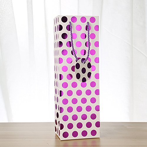 "UNIQOOO 12Pcs Premium Quality Christmas Metallic Foil Purple Polka Dot Wine Gift Bag Bulk, Single Wine Tote 14""x4.75""x3.5"" w/Gift Massage Tag,100% Recyclable Paper,Wine Liquor Carrier Bags Cover  Product ID:  711005510240"