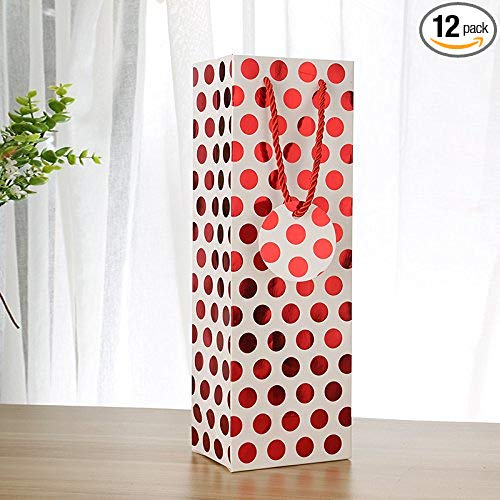 "UNIQOOO 12Pcs Premium Quality Christmas Metallic Foil Red Polka Dot Wine Gift Bag Bulk, Single Wine Tote 14""x4.75""x3.5"" w/Gift Massage Tag,100% Recyclable Paper,Wine Liquor Carrier Bags Cover"