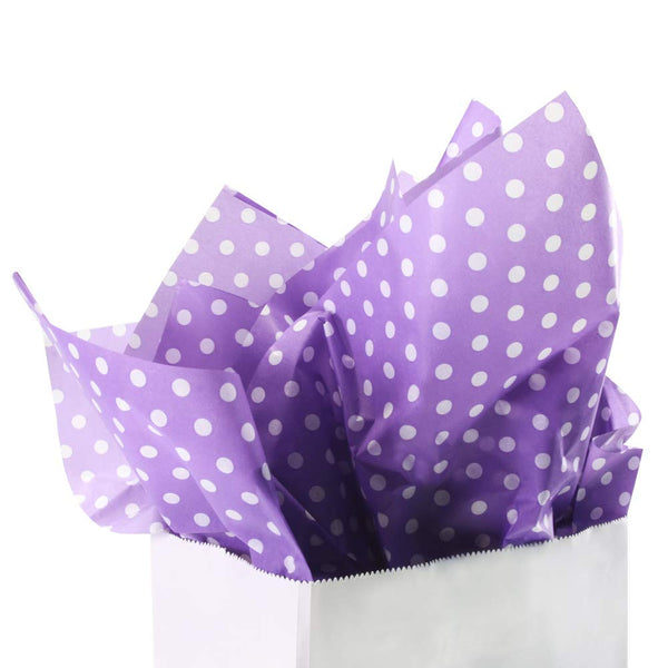 "UNIQOOO 60 Sheets Premium Purple White Polka Dots Tissue Gift Wrap Paper Bulk, 20"" X 26"" Each,100% Recyclable Gift Wrapping Accessory,Perfect for Gift Wrapping, Wine Bottles, Any Art Craft Idea"