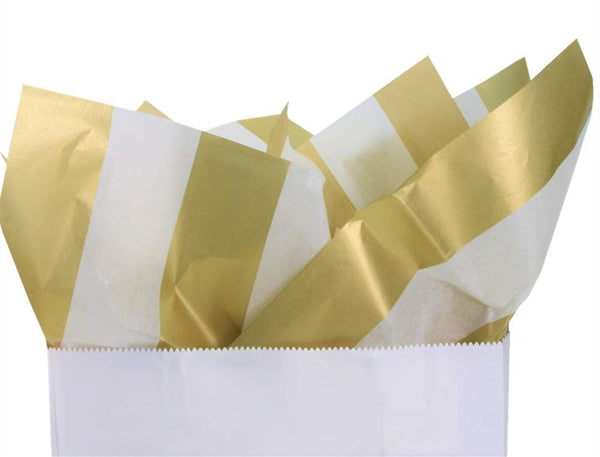 "UNIQOOO 60 Sheets Premium Metallic Gold and White Stripe Tissue Gift Wrap Paper Bulk, 20"" X 26"" Each, 100% Recyclable Gift Wrapping Accessory,Perfect for Gift Wrapping,Wine Bottles,Any Art Craft Idea"