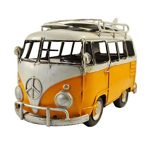 Vintage Yellow White VW Van Bus Surf Board Props Metal Model Photographing Art