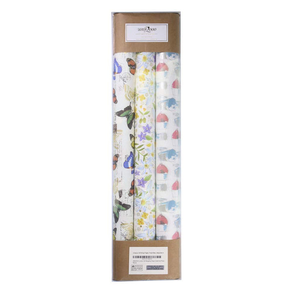 "Premium Assorted Gift Wrapping Paper 24 Sheets,6 Designs 4 Each, Unique Fresh Japanese Kimono Style,Sheet Size 27½"" X17"", Brush Gold, Brush Silver Finish/Wedding Christmas Present Tissue Warp"