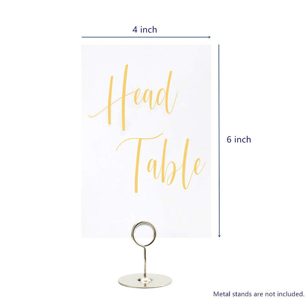UNIQOOO Yellow Print Table Numbers for Wedding | 4x6 Double Sided Number Pack, Calligraphy Design | Pack of 25